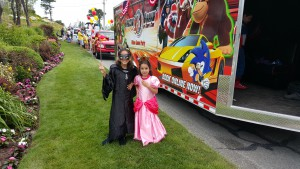 Catwoman and Princess Peach came with us to the Chatham Parade 2015