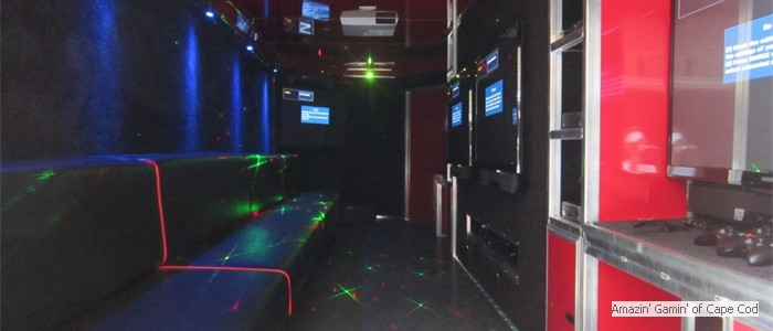 Our Game Truck has stadium seating and laser lights!